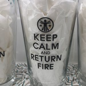 Other - Set of 4- Keep calm and return fire pint glasses